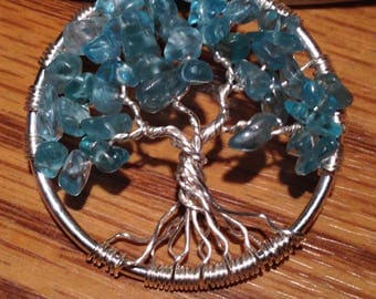 Apatite Tree of Life Necklace  Pendant with Artistic Wire Silver  Plated. Tarnish Resistant Silver.