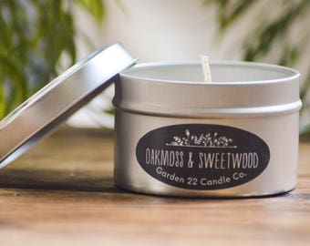 Soy Candle, Oakmoss and Sweetwood, Candle Tin, Oakmoss and Amber Scented Soy Wax Candle, Handmade Candle