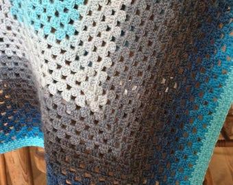 Granny Square Baby Blanket, Pram Rug, Blue, Grey
