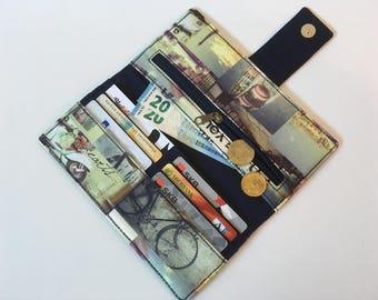 Phone Wallet Organizer, Bifold wallet, Fabric Checkbook Cover, Women's Long Purse, Travel Case Clutch, vintage Paris motifs