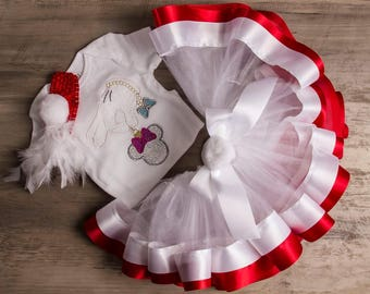 Christmas Minnie girl-Christmas celebration outfit-My first Christmas tutu set-Minnie Mouse Christmas onesie set-Baby Personalize set