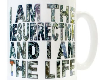 I am the Resurrection and I am the Life Ceramic Mug - Produced in UK Manc and Proud Manchester Stone Roses 90s Britpop Ian Brown John Squire