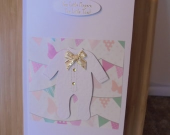 New Baby, Hand Made Greeting Card, Two Little Fingers, Two Little Toes, White/Pink/Gold with free gift tag and FREE POSTAGE