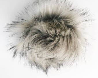"SILVER FOX / 6"" Faux Fur PomPom"