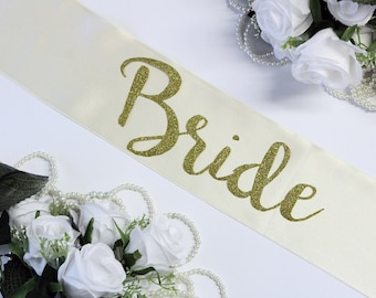 Wedding sash Bridal sash Bachelorette sash Maid of Honor, Bridal shower, Gift for Bride, Bride To Be, Gold Glitter, Plus Size, Personalized