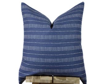 Navy Pillow Cover | Minimalist Dotted Stripes | 'Uma'