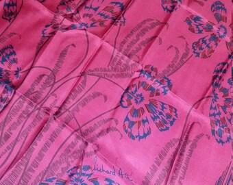 Richard Allan silk scarf- Vintage- floral motif- dramatic palette...great retro designer!