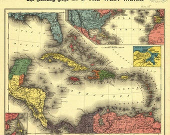 Large Atlas Map Of The West Indies 1898 Giclee Fine Art Print