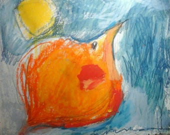 Big orange bird in blue sky, mixed media drawing by Evelyne Brosseau