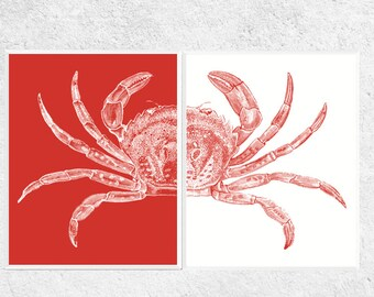 Crab Prints | Crab Printables | 2 Set | Red and White | Beach Decor | Beach Art | Nautical Art | Crab Art | Digital Download