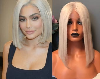 Kylie inspired blonde Bob