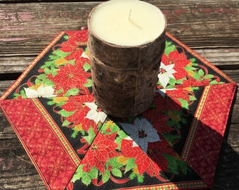 Christmas poinsettia candle mat