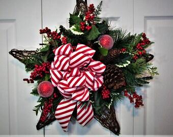 Christmas Wreath, Christmas Door Decoration, Grapevine Wreath,Front Door Wreath,Outdoor Wreath,Hostess Gift,Home Decor,Star Grapevine Wreath