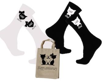 Anniversary Socks Gift For Cat Family Adult Novelty Socks 2017 Cat Mom 2017 Cat Dad Novelty Sock For Her Novelty Sock For Men