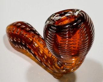"5"" Orange Snakeskin Sherlock Glass Smoking Pipe with Glass Bowl SP736"