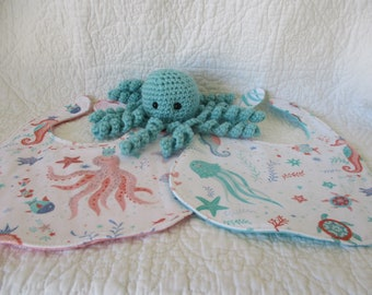 Underwater/sea theme bibs and Jellyfish shelf sitter ~Newborn