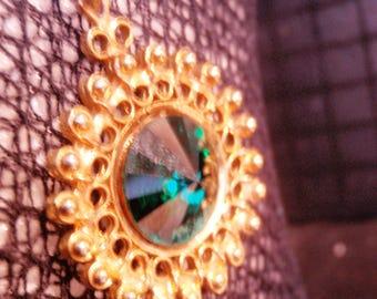 rivoli cut  emerald rhinestone art deco, renaissanse, victorian,  REVIVAL VINTAGE ANTIQUE necklace