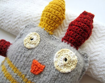 Nice fluffy Monster knit grey and yellow