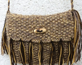 Brown and yellow knit fringed bag