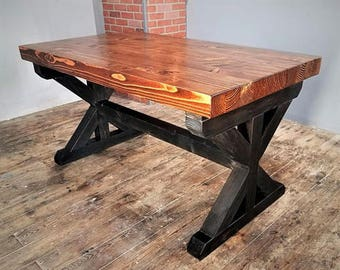 "Trestle Dining Table with Extensions, 3 1/2"" Thick Butcher Block Top, X Leg Base, Solid Wood Table, Country Kitchen, Farmhouse Furniture"