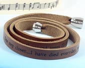 Personalised Lyrics Leather Bracelet