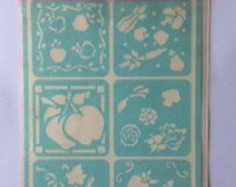 Fruits and Veggies Ultra Stencil flexible and reusable press on stencil for glass, tiles and more