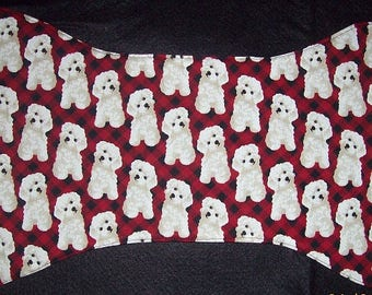 Fluffy Little Bichon - Red & Black Plaid - Dog Bone Shaped Placemat - Cute Dog Food Mat - Washable