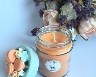 Orange Scented Candle / Polymer Clay Flowers and Macaroons Lid / Unique Designed Candle / Love Gift for Her