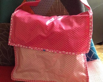 Pink coated cotton book bag