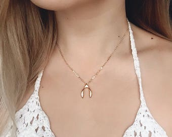 Dainty Wishbone Necklace / Gold Wishbone Layering Necklace