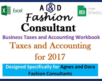 Agnes and Dora Fashion Consultant Business 2017 Taxes, Accounting Expenses, Revenue, Profit - Excel Workbook Spreadsheet