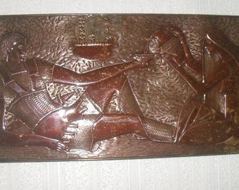Vintage copper picture Old copper artwork Relief copper wall art USSR Copper wall decor Embossed copper wall hanging Embossed metal