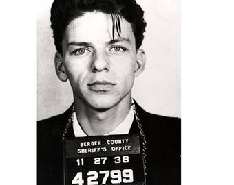"""FRANK SINATRA - """"Mugshot"""" On Paper Archival310m OR Canvas hdprint, Museum Gallery Stretched"""