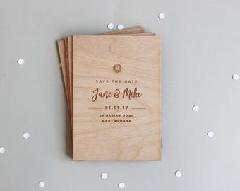 Wooden Save The Date Card, Save The Date Wood, Simple Save The Date, Rustic Save The Date, Modern Save The Date, Save The Date Cards