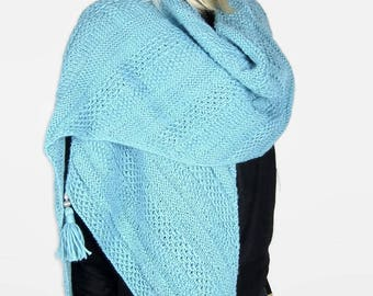 ATLANTIS - Textured wool - knitted women shawl scarf stole