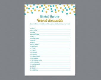 Bridal Shower Word Scramble Game Printable, Aladdin Fairytale, Wedding Party Game, Bridal Shower Games, Word Search, Blue, Unscramble, A016