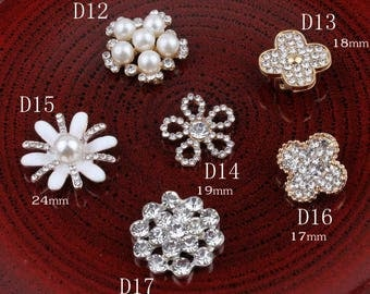 Vintage Handmade Metal Decorative Buttons+Crystal Pearls Craft Supplies Flatback Rhinestone Buttons for Hair Accessories