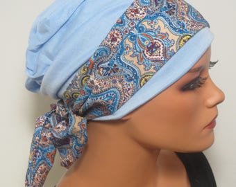 Cool BEANIE/Hat + hair band 2 piece set light blue colored CHEMO Hat fashionable practically convenient turban