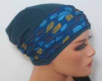 Cool BEANIE/Hat + headband bunt well to combine petrol mix fashionable practically easy turban chemo chemical Hat