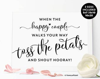 Toss Petals Sign, Toss Petal Bags, printable Wedding Petal Toss Sign, Wedding Petal Cones, Ceremony Petal Toss Sign, Wedding Throw Petals