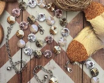 PINK CHAMPAGNE 12mm Swarovski Crystal Necklace/Bracelet - Gold/Ivory/Pale Pink