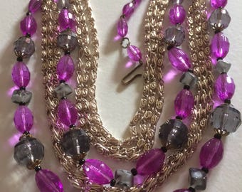 GERMANY* 4 Strand Bead & Chain Necklace, Signed