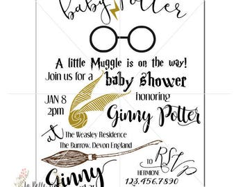 Digital Harry Potter Baby Shower Invitation, Insert, Diaper Raffle, Thank You, Bundle