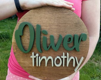 "12"" Round Custom Name Wood Sign 