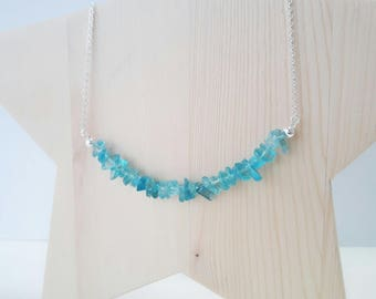 Silver Choker and turquoise Spring natural stones. Natural Turquoise Stone Necklace.