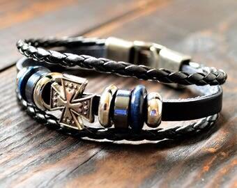 Men Leather Bracelet Mens Bracelet Black Mens Bracelet Gift For Him