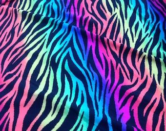 Zebra print spandex tactel rainbow color
