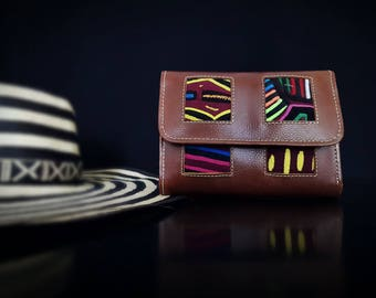 Leather wallet and Mola-KUNA art