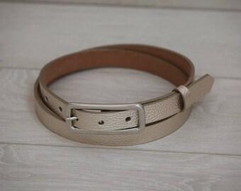 Leather Belt, Light Gold Leather Belt, Light Gold Womens Belt, Skinny Belt, Thin Belt, Dress Belt
