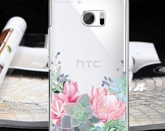 Succulent case htc U11 Bolt htc 10 evo htc E9 htc One X9 htc One ME floral case One M10 htc 10 Lifestyle One M7 Desire 10 Desire 10 Pro